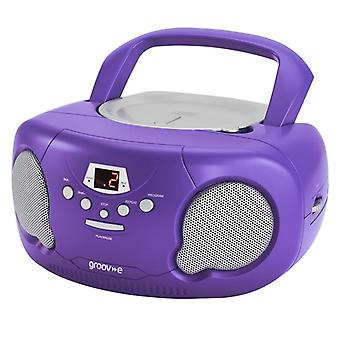 GVPS733PE Original Aux-In Boombox Portable CD Player with Radio - Purple