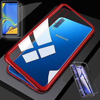 Für Samsung Galaxy A7 A750F 2018 Magnet / Metall / Glas Tasche Case Rot / Transparent + 0,26 mm H9 Hart Glas