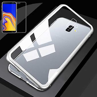 For Samsung Galaxy J4 plus J415F magnet / metal / glass pouch case silver / transparent + 0.26 mm H9 hard glass