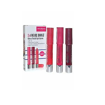 Bourjois 3 x Color Boost Glossy Finish Lip Crayons, Waterproof