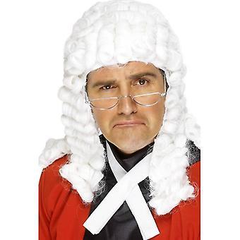 Blanco largo ondulada peluca, peluca de los jueces. Accesorio de vestido de lujo de sala