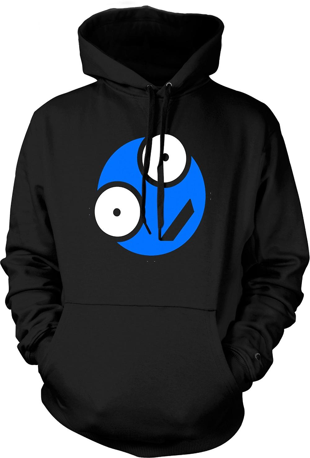 Mens Hoodie - Blue Smiley Face - Funny