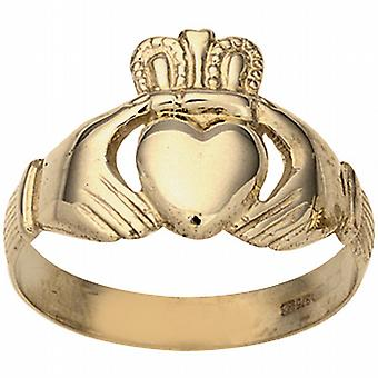 9ct Gold 11x22m gents Claddagh Ring Size U