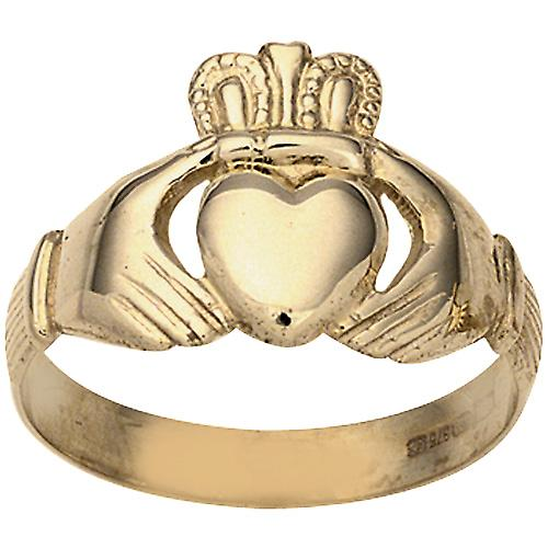 9ct Gold 11x22m gents Claddagh Ring Size S