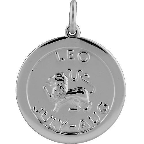 Silver 22mm round Zodiac Disc Pendant Leo