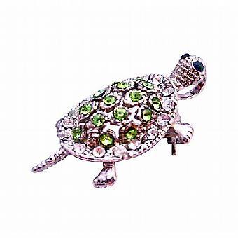 Peridot Crystal Turtle Tag Silver Casting Unique Brooch & Pendant