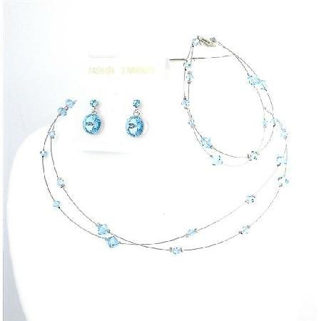 Custom Handcraft Jewelry Aquamarine Swarovski Crystals Complete Set