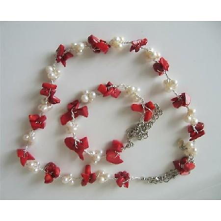 Coral Nugget Chip Beads Freshwater Pearls Necklace & Bracelet