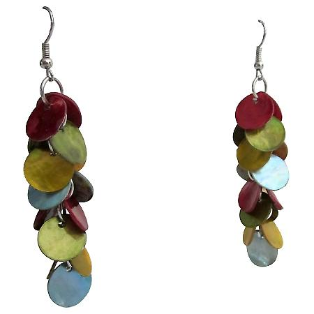 Shell Disc Cluster Earrings Multicolor Shell Cluster Earrings Gift
