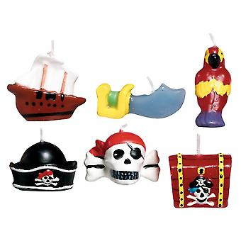 6 Pirate Moulded Birthday Cake Candles   Party Candles