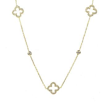 Latelita Sterling Silver Gold Long Open alhambra Clover Necklace CZ 90cm