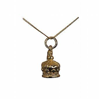 9ct guld 12x10mm Royal krona hänge med en Trottoarkant kedja 16 inches bara lämpar sig för barn