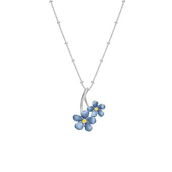 Eternal Collection Forget-Me-Not Blue Enamel Silver Tone Pendant