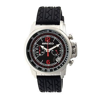 Breed Nash Chronograph Men's Watch w/ Date-Silver/Black