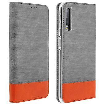 Samsung Galaxy A7 2018 Flip Wallet Case - Grey Denim Case