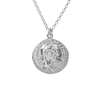 Roman Greek Coin 925 sterling Silver Pendant Necklace Short Chain 45cm Round