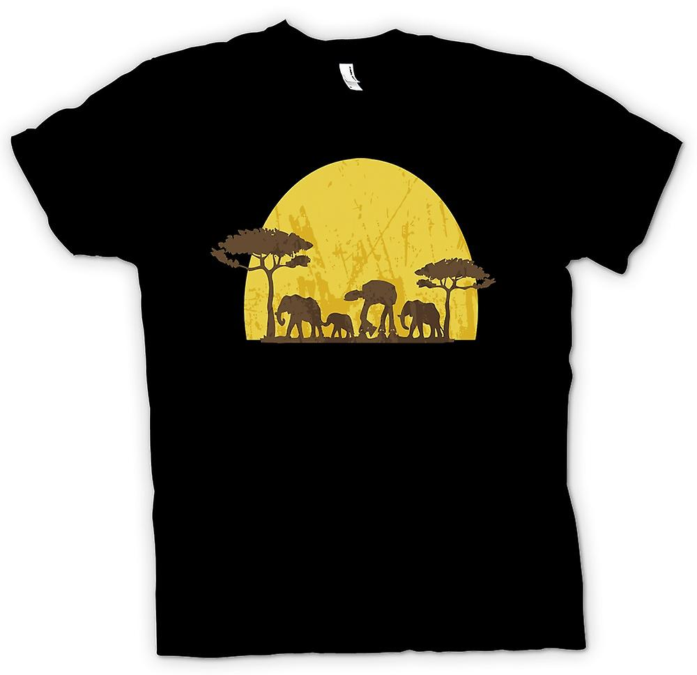 Mens T-shirt - Star Wars Safari - Elephant and ATAT
