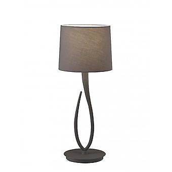 Mantra Lua Table Lamp 1 Light E27, Large Ash Grey With Ash Grey Shade