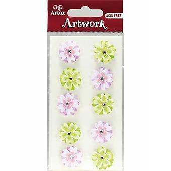 Fleurs rose et vert Craft embellissement par Artoz