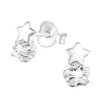 Double Stars - 925 Sterling Silver Cubic Zirconia Ear Studs - W30618X