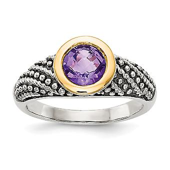 925 Sterling Silver With 14k Amethyst Ring - Ring Size: 6 to 8
