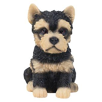 Realistic 15cm Sitting Yorkshire Terrier Puppy Dog Statue Ornament