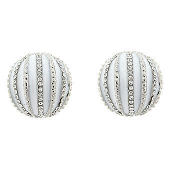 Clip On Earrings Store White Enamel and Crystal Half Ball Clip On Earrings