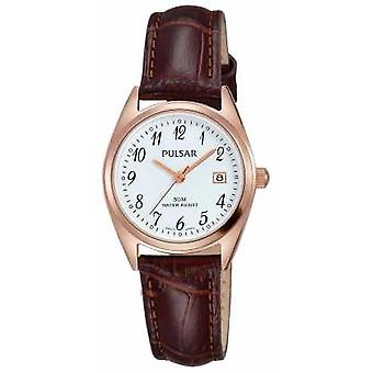 Pulsar Womens Brown Leather Strap White Dial PH7448X1 Watch
