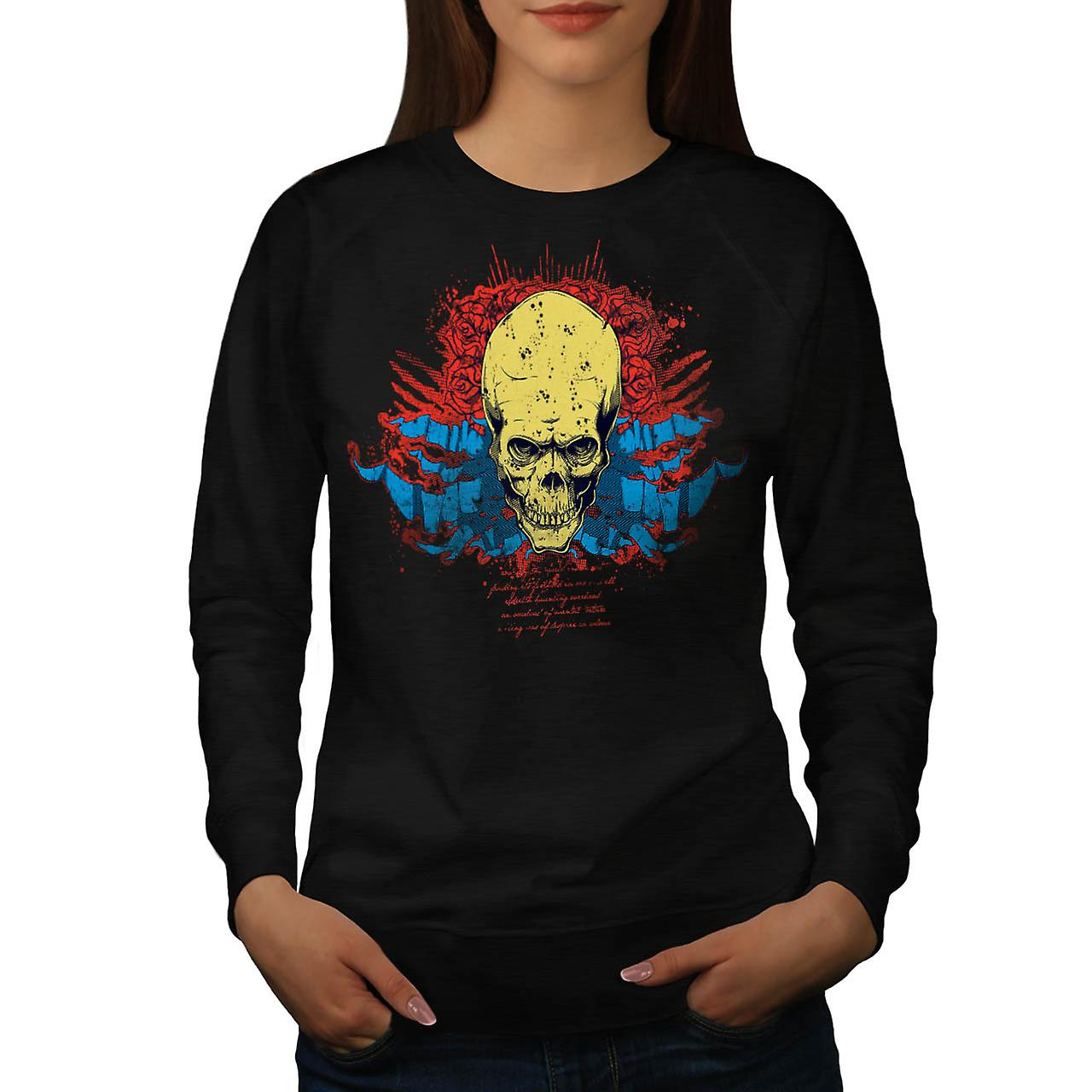 Evil Skull Head Smile Devil Zone Women Black Sweatshirt | Wellcoda