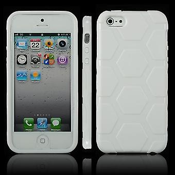 Cover with hexagons in TPU rubber for iPhone 5 (white)
