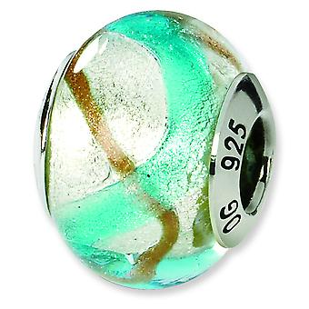 Sterling Silver Polished Antique finish Italian Murano Glass Reflections Silver Gold Blue Italian Murano Bead Charm