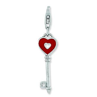 Sterling Silver Rhodium-plated Enameled Heart Key With Lobster Clasp Charm - 1.2 Grams