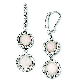 Sterling Silver CZ Synthetic Opal Dangle Earrings