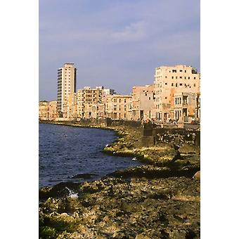 Malecon Waterfront in Old City of Havana Cuba Poster Print by Greg Johnston