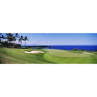 Golf course at the oceanside The Manele Golf course Lanai City Hawaii USA Poster Print