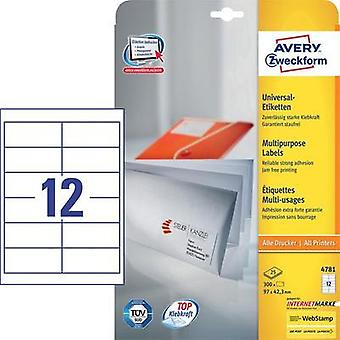 Avery-Zweckform 4781 Labels (A4) 97 x 42.3 mm Paper White 300 pc(s) Permanent All-purpose labels Inkjet, Laser, Copier