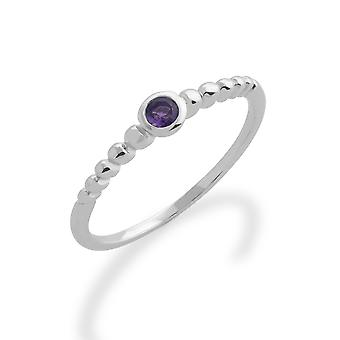 Gemondo 925 Sterling Silver 0.08ct Amethyst Stackable Birthstone Ring