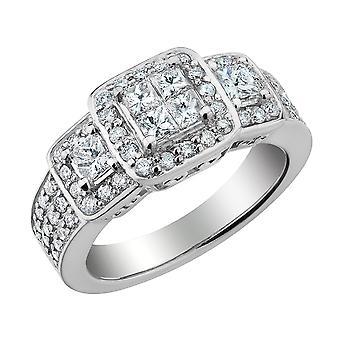 Princess Cut Diamond Engagement Ring & Double Wedding Band Set 1.33 Carat (ctw) in 14K White Gold