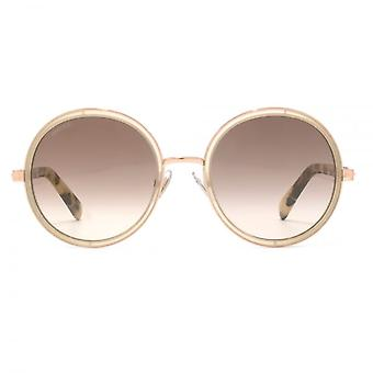 Jimmy Choo Crystal Glitter Round Sunglasses In Gold Nude Havana