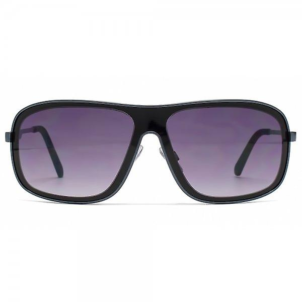 French Connection Sporty Reverse Groove Sunglasses In Matte Dark Blue