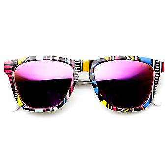 Native Print Color Mirror Lens Keyhole Bridge Horn Rimmed Sunglasses