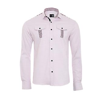 Tazzio fashion shirt men's long sleeve-pink slim fit shirt