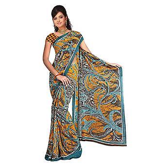 Baruni Georgette gedruckt Casual Sari Sari Bauchtanz Stoff