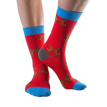 Boxing hares women's soft bamboo crew socks in red | By Doris & Dude