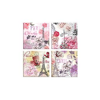 Glass Coasters Set of 4 Paris Design Flower Glassware Kitchen Home Drinks Mat