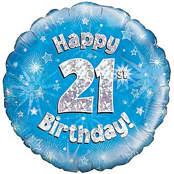 Oaktree 18 Inch Happy 21st Birthday Blue Holographic Balloon