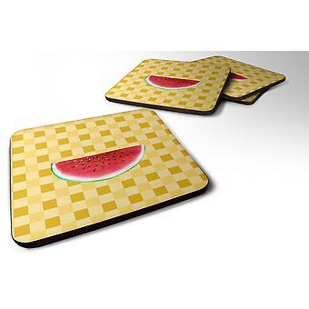 Set of 4 Sliced Watermelon on Basketweave Foam Coasters Set of 4