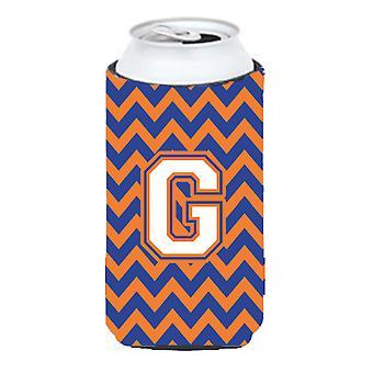 Letter G Chevron Blue and Orange Tall Boy Beverage Insulator Hugger