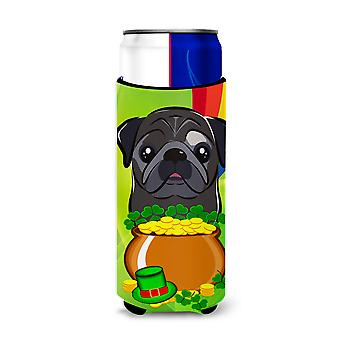 Black Pug St. Patrick's Day Michelob Ultra beverage Insulator for slim cans