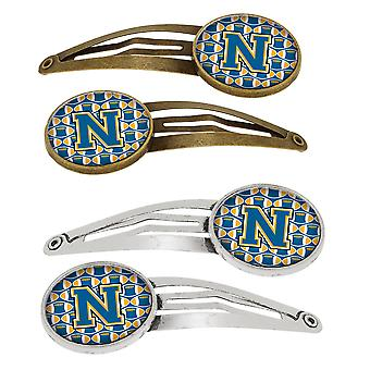 Letter N Football Blue and Gold Set of 4 Barrettes Hair Clips